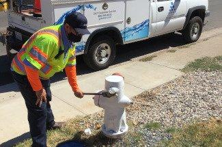 Man at hydrant