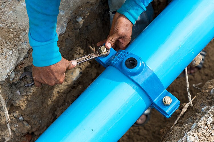 Installing new water pipe